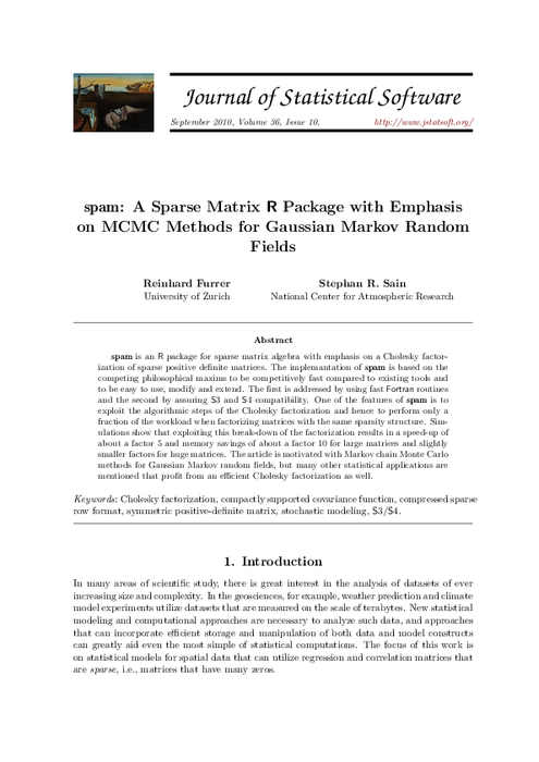 Spam: A sparse matrix R package with emphasis on MCMC