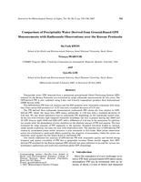 Comparison of precipitable water derived from ground-based GPS measurements with radiosonde observations over the Korean Peninsula