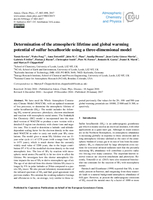 Determination of the atmospheric lifetime and global warming potential of sulfur hexafluoride using a three-dimensional model