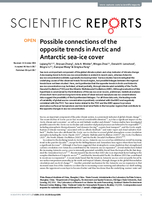 Possible connections of the opposite trends in Arctic and Antarctic sea-ice cover