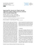 Improving PM2. 5 forecast over China by the joint adjustment of initial conditions and source emissions with an ensemble Kalman filter