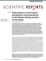 Spatial patterns of wet season precipitation vertical gradients on the Tibetan Plateau and the surroundings