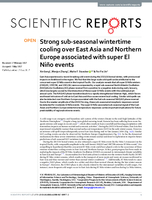 Strong sub-seasonal wintertime cooling over East Asia and Northern Europe associated with super El Niño events