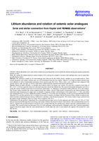 Lithium abundance and rotation of seismic solar analogues
