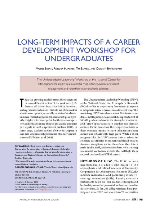 Long-term impacts of a career development workshop for