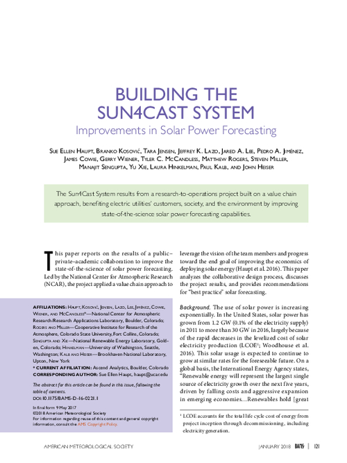 Building the Sun4Cast System: Improvements in solar power