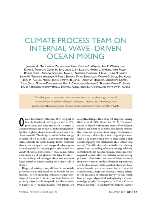 Climate process team on internal wave-driven ocean mixing