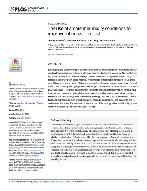 The use of ambient humidity conditions to improve influenza