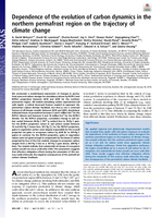 Dependence of the evolution of carbon dynamics in the northern permafrost region on the trajectory of climate change