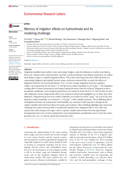 memory of irrigation effects on hydroclimate and its modeling challenge opensky repository