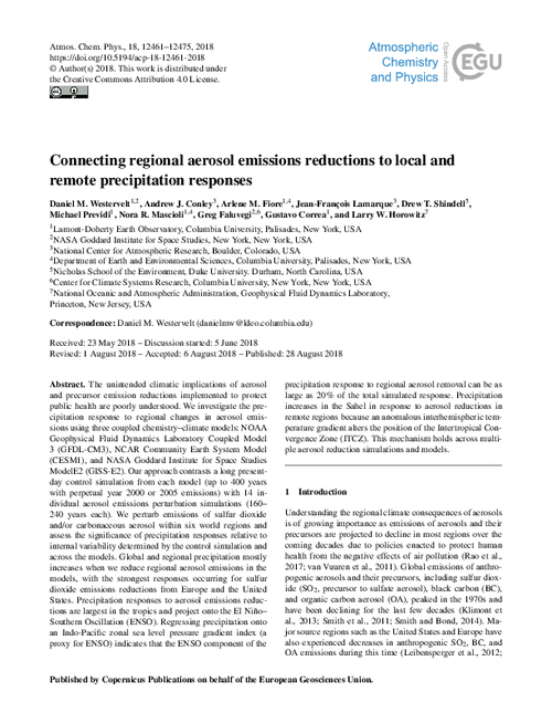 Connecting Regional Aerosol Emissions Reductions To Local And Remote