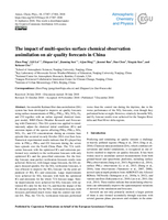 The impact of multi-species surface chemical observation assimilation on air quality forecasts in China