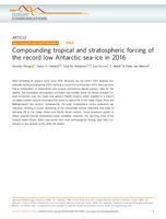 Compounding tropical and stratospheric forcing of the record low Antarctic sea-ice in 2016