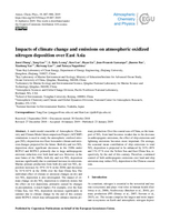Impacts of climate change and emissions on atmospheric oxidized nitrogen deposition over East Asia