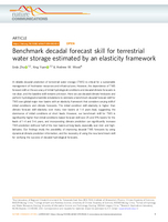 Benchmark decadal forecast skill for terrestrial water storage estimated by an elasticity framework
