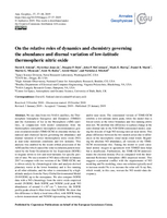On the relative roles of dynamics and chemistry governing the abundance and diurnal variation of low-latitude thermospheric nitric oxide