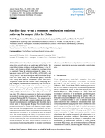 Satellite data reveal a common combustion emission pathway for major cities in China