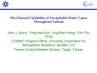 The diurnal variability of precipitable water vapor throughout Taiwan [presentation]