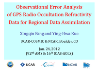 Observational error analysis of GPS radio occultation refractivity data for regional data assimilation [presentation]