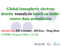 Global 3-D ionospheric electron density reanalysis based on multi missions and ground based GNSS observations assimilation in UCAR/CDAAC [presentation]