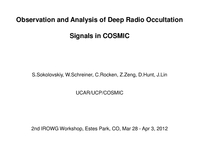 Observation and analysis of deep radio occultations signals in COSMIC [presentation]