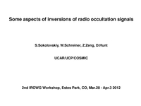 Some aspects of inversions of radio occultation signals [presentation]