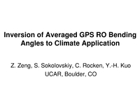 Inversion of averaged GPS RO bending angles to climate application [poster]