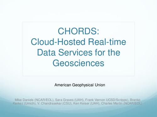Chords Cloud Hosted Real Time Data Services For The Geosciences