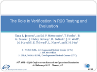The role in verification in R2O testing and evaluation [presentation]