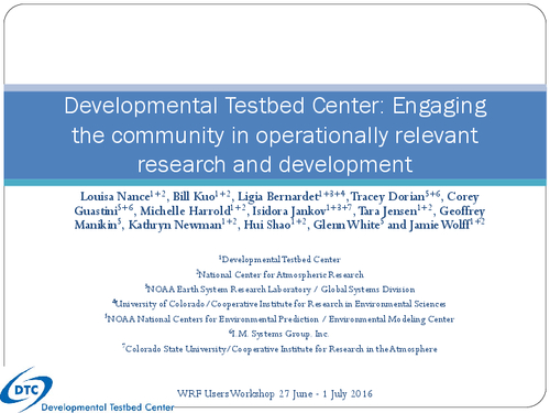 Developmental Testbed Center: Engaging the community in