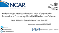 Performance analysis and optimization of the Weather Research and Forecasting Model (WRF) advection schemes [presentation]