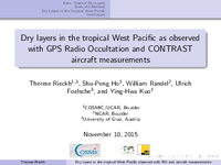 Dry layers in the tropical West Pacific as observed with GPS Radio Occultation and CONTRAST aircraft measurements [presentation]