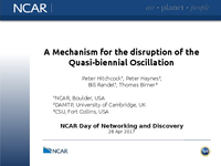 A mechanism for the disruption of the quasi-biennial oscillation [presentation]