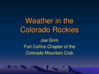 Weather in the Colorado Rockies