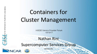Containers for cluster management