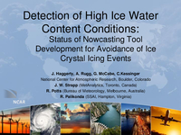 Detection of high ice water content (HIWC) conditions: Status of nowcasting tool development for avoidance of ice crystal icing