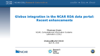 Globus integration in the NCAR RDA data portal: Recent enhancements