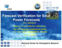 Forecast verification for solar power forecasts