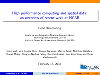 High performance computing and spatial data: An overview of recent work at NCAR