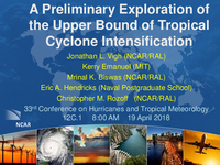 A preliminary exploration of the upper bound of tropical cyclone intensification