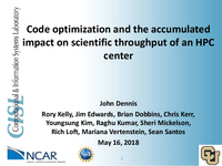 Code optimization and the accumulated impact on scientific throughput of an HPC center