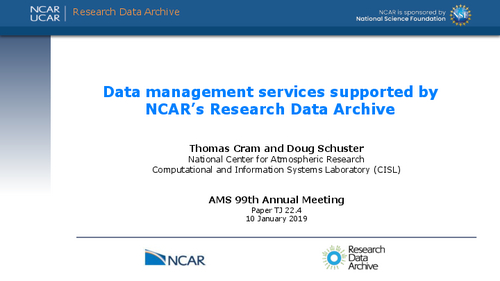 Data management services supported by NCAR's Research Data Archive