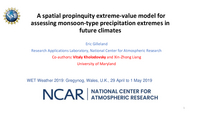 A spatial propinquity extreme-value model for assessing monsoon-type precipitation extremes in future climates