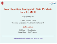 Near real-time ionospheric data products from COSMIC [presentation]
