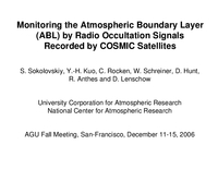 Monitoring the Atmospheric Boundary Layer (ABL) by radio occultation signals recorded by COSMIC satellites [presentation]