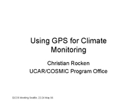 Using GPS for climate monitoring [presentation]