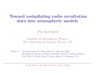 Toward assimilating radio occultation data into atmospheric models [presentation]