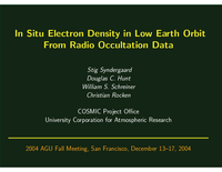 In situ electron density in low Earth orbit from radio occultation data [presentation]