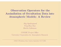 Observation operators for the assimilation of occultation data into atmospheric models [presentation]