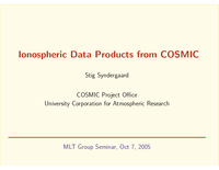 Ionospheric data products from COSMIC [presentation]